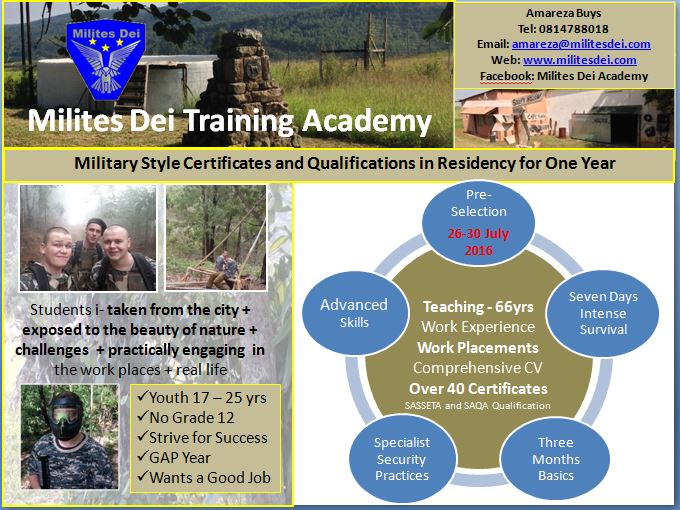 The next intake will be 26-30 July 2016