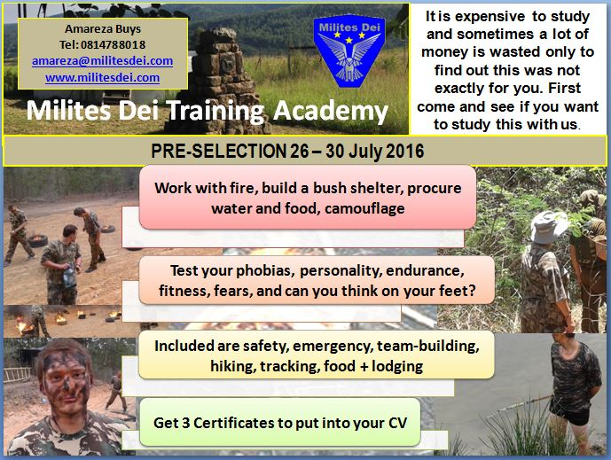 Pre-Selection 26 - 30 July 2016