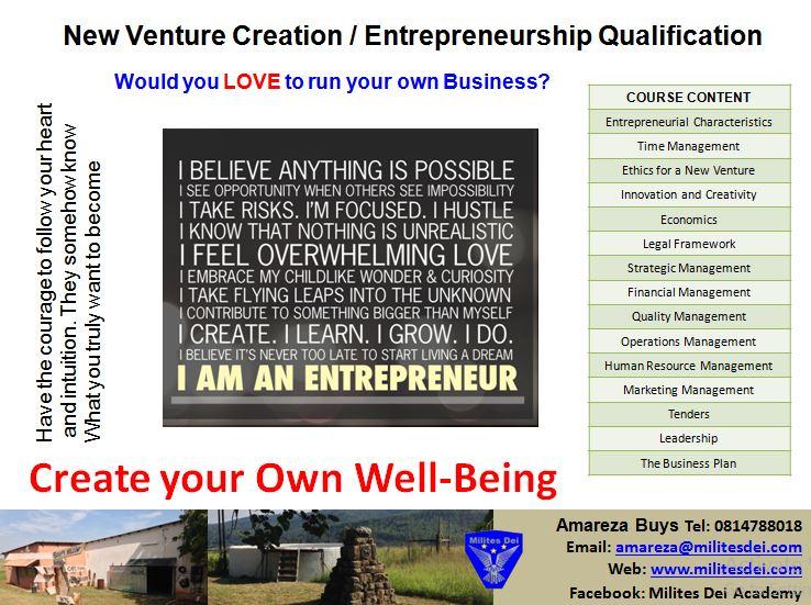 New Venture Creation Entrepreneurship Qualification