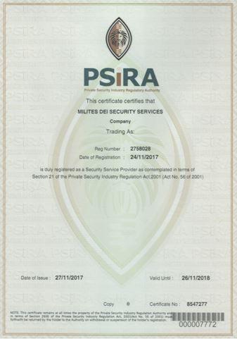 PSIRA Certificate